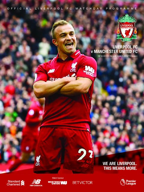 This Is Anfield – Liverpool FC Programmes – 16 December 2018