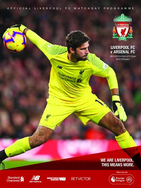 This Is Anfield – Liverpool FC Programmes – 29 December 2018