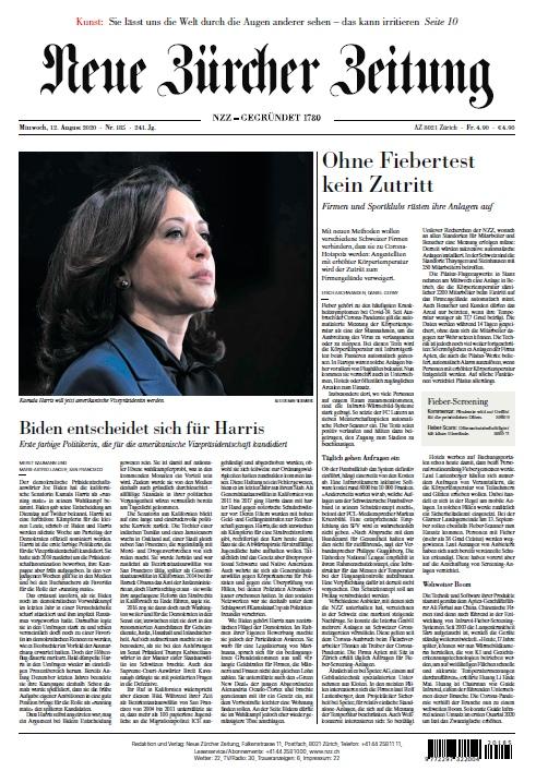 Neue Zürcher Zeitung – 12.08.2020